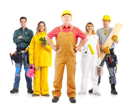 perforate: Industrial workers people. Isolated over white background