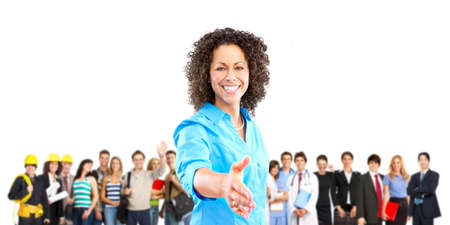 Large group of smiling workers people. Over white background Stockfoto