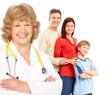 Smiling family medical doctor and young family. Over white background Reklamní fotografie - 6925324