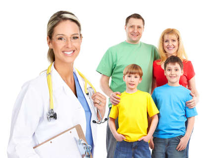 Smiling family medical doctor and young family. Over white background Stock Photo - 6925208