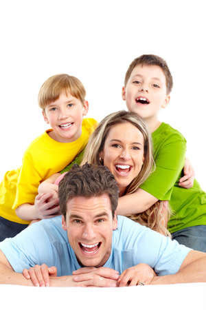 Happy family. Father, mother and children. Over white background Stock Photo - 7105412