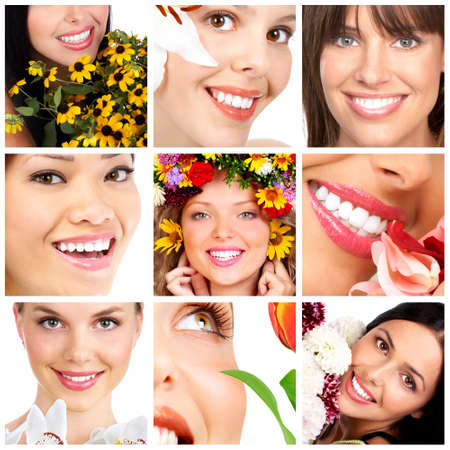 Beautiful young smiling women with flowers.