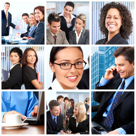 Smiling business people team working in the office Stock Photo - 7105654