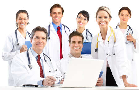 happy doctor woman: Smiling medical doctors with stethoscopes. Isolated over white background