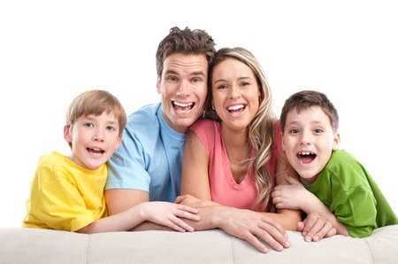 Happy family. Father, mother and children. Over white background Stock Photo - 7038218