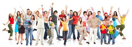 grote groep mensen: Happy grappig mensen. Geïsoleerd via witte achtergrond Stockfoto
