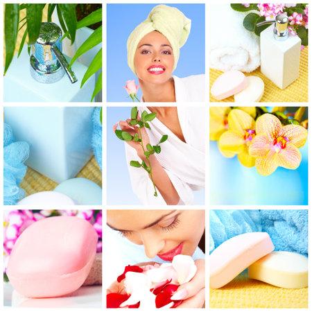 bañarse: joven y bella mujer, flores, baño, jabón, toallas
