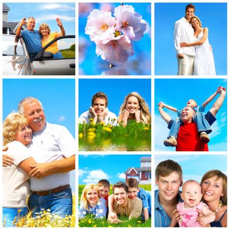 Familias felices en parque bajo el cielo azul Foto de archivo - 7038247