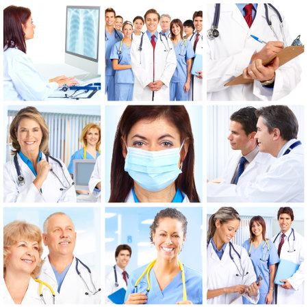 orvosok: Smiling medical doctors with stethoscopes.