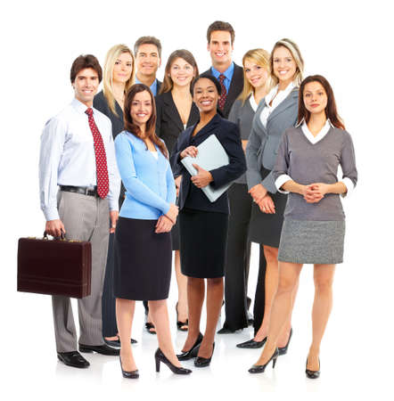 Groep zaken lieden. Geïsoleerd via witte achtergrond   Stockfoto
