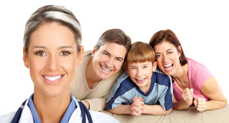 Smiling family medical doctor and family. Over white background