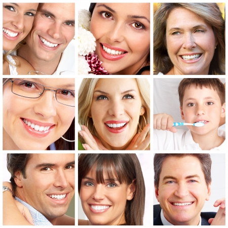 Faces of smiling people. Teeth care. Smile  Фото со стока