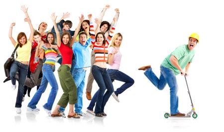 personas corriendo: Feliz gente divertida. Aislados sobre fondo blanco