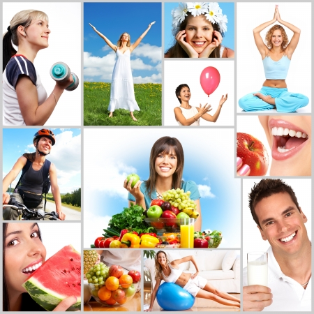 healthy lunch: Young smiling women  with fruits and vegetables