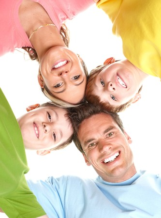 Happy family. Father, mother and children. Over white background Stock Photo - 7088174