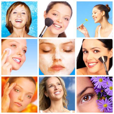 Pretty smiling women applying make up.  photo