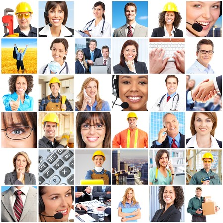 Set of smiling workers people.