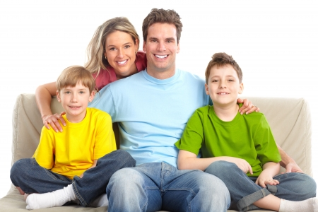Happy family. Father, mother and children. Over white background Stock Photo - 7088186