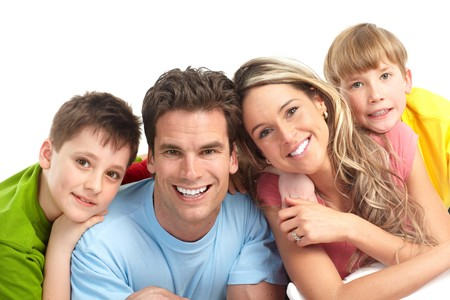 Happy family. Father, mother and children. Over white background Stock Photo - 7088184