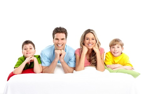 Happy family. Father, mother and children. Over white background Stock Photo - 7088158
