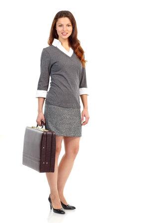 Glimlachende zaken vrouw. Geïsoleerd op witte achtergrond