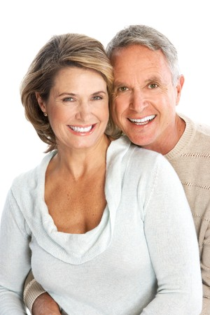 dental smile: Happy seniors couple in love. Isolated over white background  Stock Photo