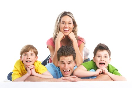 Happy family. Father, mother and children. Over white background Stock Photo - 7088155