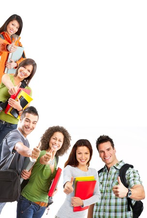 group of smiling  students. Isolated over white background photo
