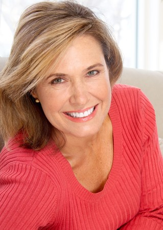 Smiling happy  woman at home  Stock Photo