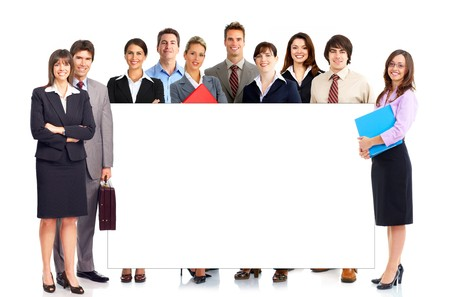 Young smiling  business people. Isolated over white background Stock Photo - 7135698