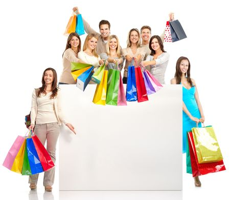 Happy shopping people. Isolated over white background Foto de archivo