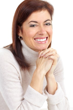 Beautiful smiling woman. Isolated over white background photo