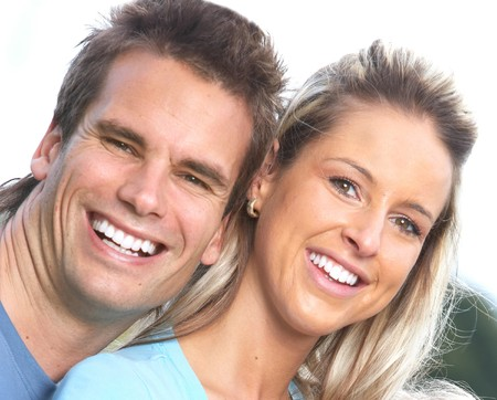 Young smiling  love couple outdoor Stock Photo - 7169704