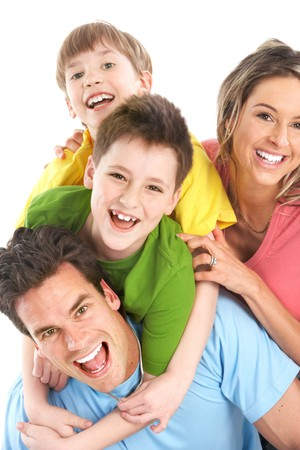 Happy family. Father, mother and children. Over white background Stock Photo - 7169737