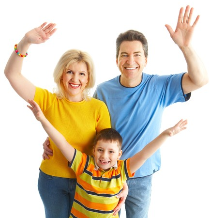 Happy family. Father, mother and boy over white background Stock Photo - 7169705