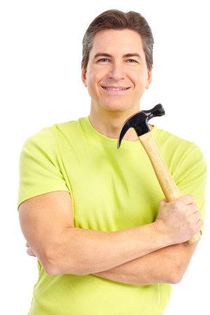 Bel homme avec un marteau.  Isolé sur fond blanc Banque d'images - 7184599