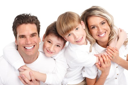 Happy family. Father, mother and children. Over white background Stock Photo - 7239357