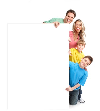 Happy family. Father, mother and children. Over white background Stock Photo - 7239348