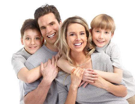 Familia feliz. Padre, madre y los niños. Sobre fondo blanco  Foto de archivo - 7239351