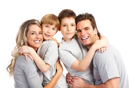 Happy family. Father, mother and children. Over white background Stock Photo - 7239361