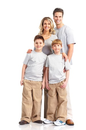 Happy family. Father, mother and children. Over white background Stock Photo - 7239355