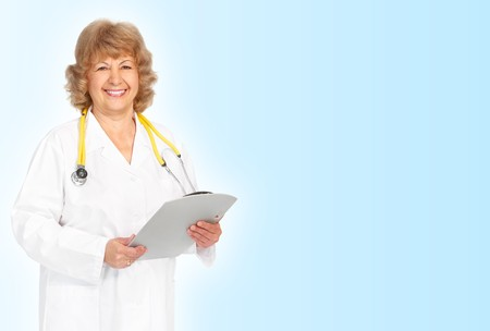Smiling medical doctor woman with stethoscope. Over blue background  photo