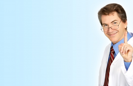 Smiling medical doctor with stethoscope. Over blue background