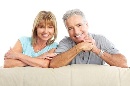 Happy seniors couple in love. Healthy teeth. Isolated over white background Stock Photo - 7231974