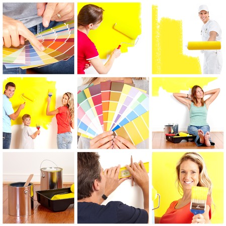 Renovation set. People working at home