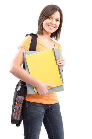 Young smiling  student woman. Over white background photo