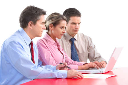 Smiling business people team working in the office with laptop Stock Photo - 7317207