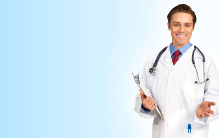 practise: Smiling medical doctor with stethoscope. Over white background Stock Photo