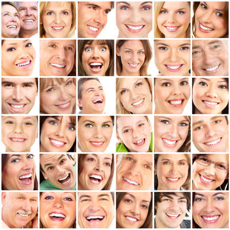 dentista: Rostros de personas sonrientes. Cuidado de los dientes. Sonrisa