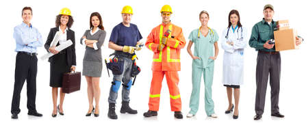 Businessman, builder, nurse, architect. Isolated over white background Stock Photo - 7317271